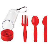 """Набор """"Pocket"""":ложка,вилка,нож в футляре с карабином, красный, 4,2х15см,пластик"""