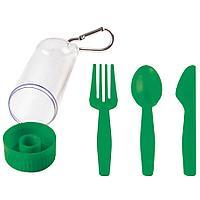 "Набор ""Pocket"":ложка,вилка,нож в футляре с карабином, зеленый, 4,2х15см,пластик"