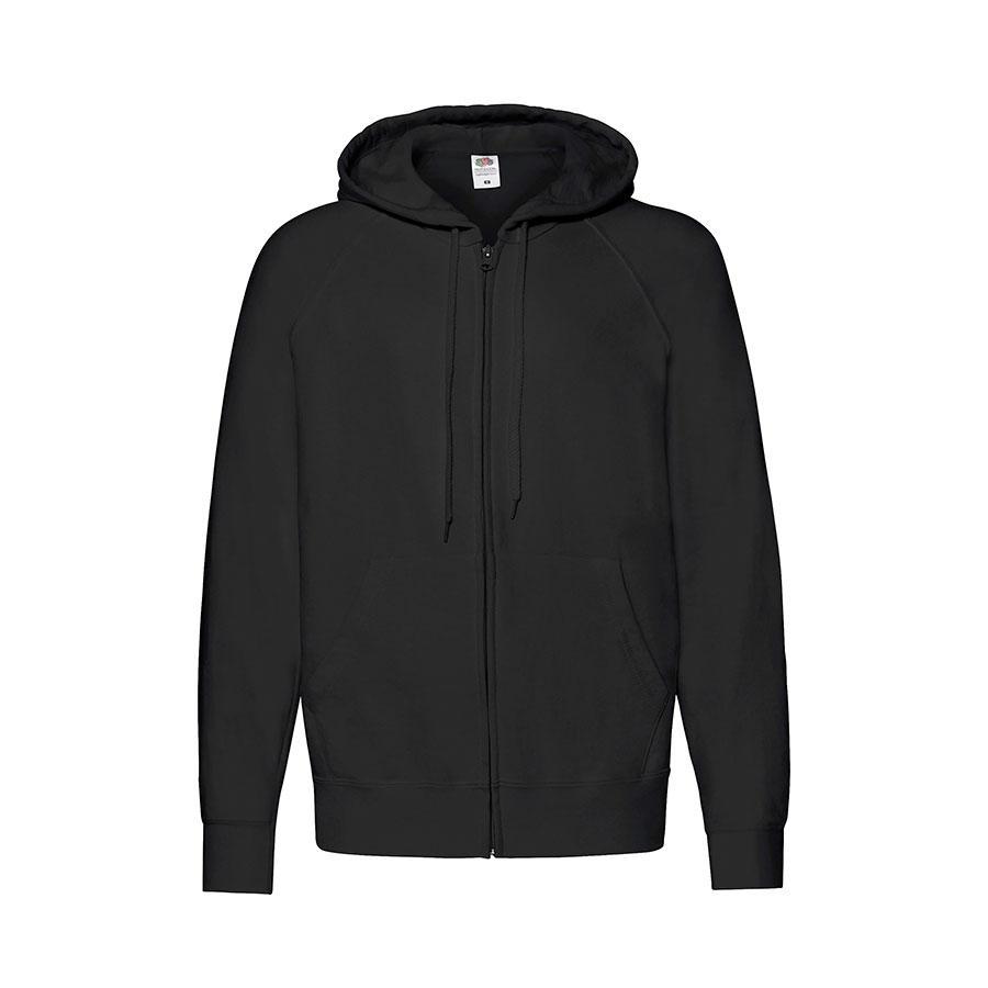 "Толстовка без начеса ""Lightweight Hooded Sweat"",  черный, 2XL, 80% х/б 20% полиэстер, 240 г/м2"