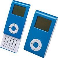 Калькулятор раздвижной с календарем и часами; синий; 9,6х5х1,4 см; пластик