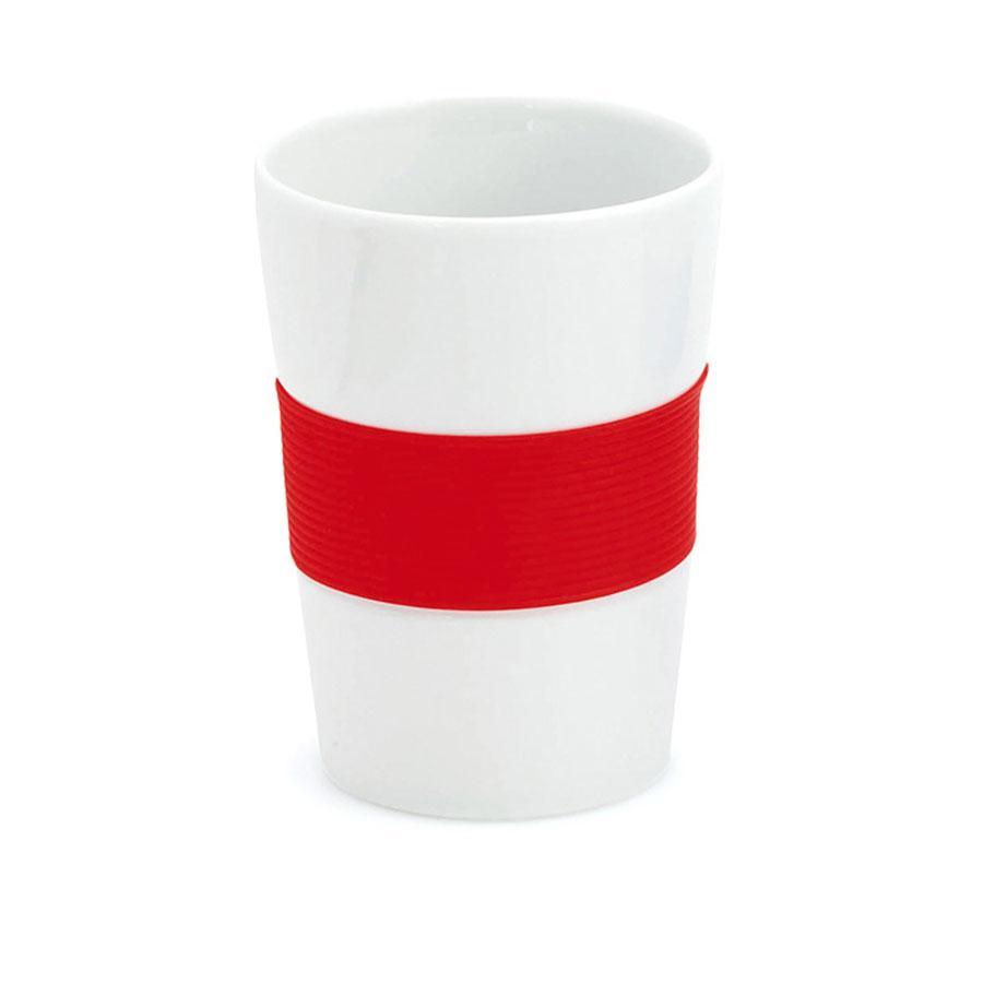 Стакан NELO, белый с красным, 350мл, 11,2х8см, тонкая керамика, силикон