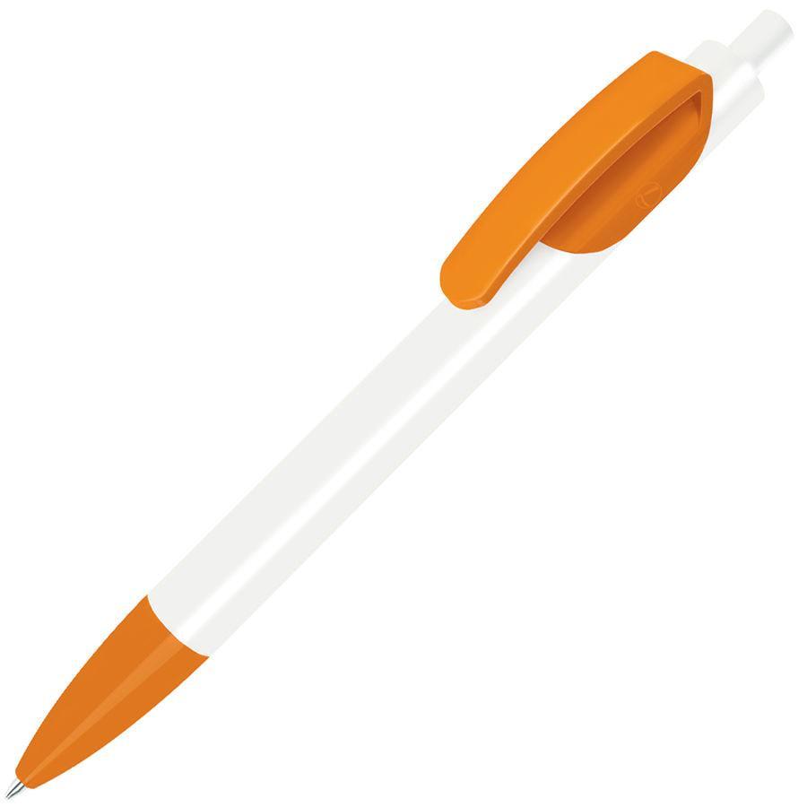 TRIS, ручка шариковая, белый корпус/оранжевый, пластик