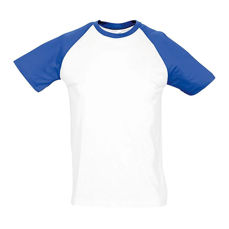 """Футболка """"Funky"""", белый с ярко-синим_2XL, 100% х/б, 150 г/м2"""