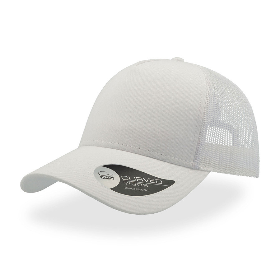 """Бейсболка """"RAPPER COTTON"""", 5 клиньев, пласт. застежка, белый, 100 х/б%, 100% полиэстер, 180 гр/м2"""