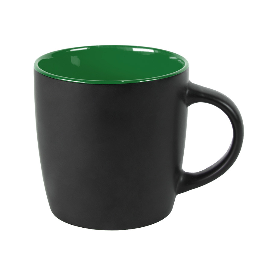 Кружка INTRO, черный с зеленым, 350 мл, керамика