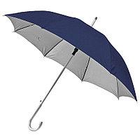 """Зонт-трость с пластиковой ручкой """"под алюминий"""" """"Silver"""", полуавтомат; темно-синий с серебром; D=103"""