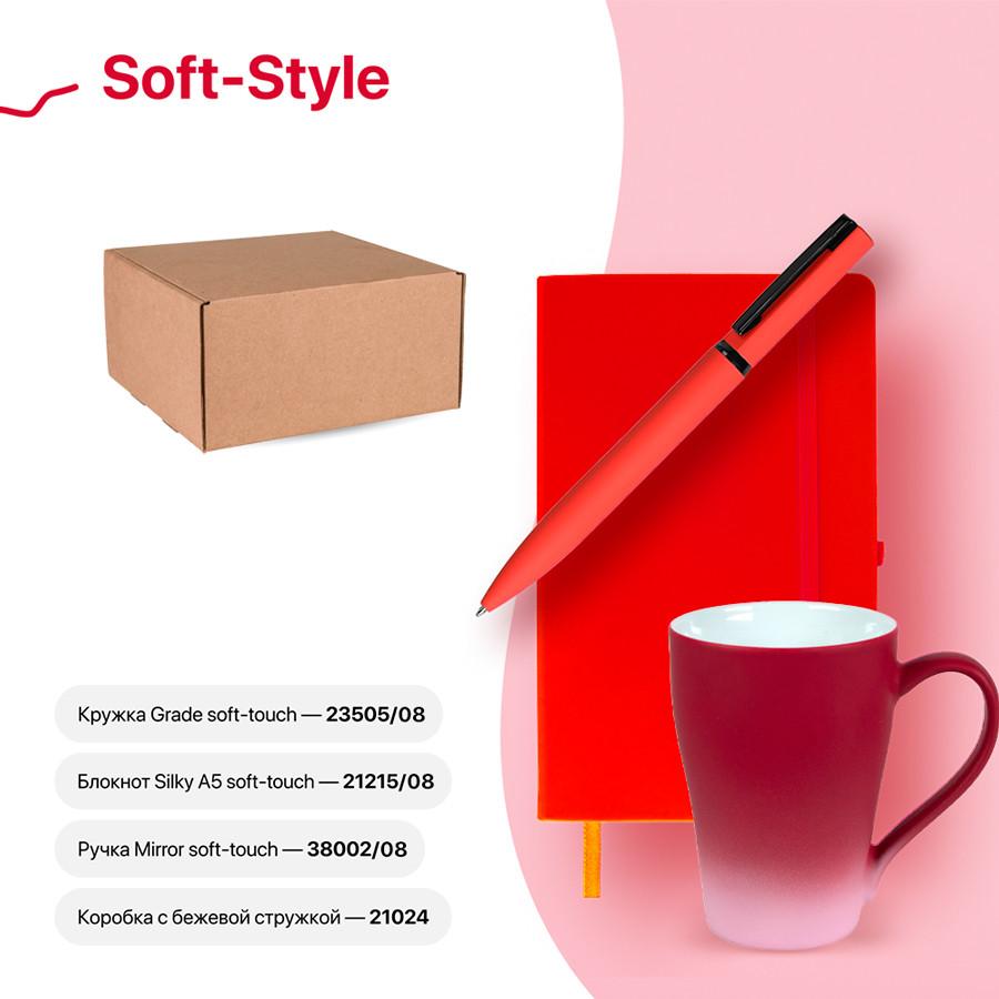 Набор подарочный SOFT-STYLE: бизнес-блокнот, ручка, кружка, коробка, стружка, красный