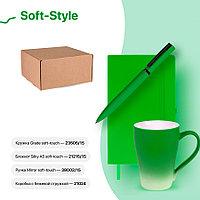 Набор подарочный SOFT-STYLE: бизнес-блокнот, ручка, кружка, коробка, стружка, зеленый