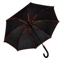 """Зонт-трость """"Back to black"""", полуавтомат, нейлон, черный с оранжевым"""