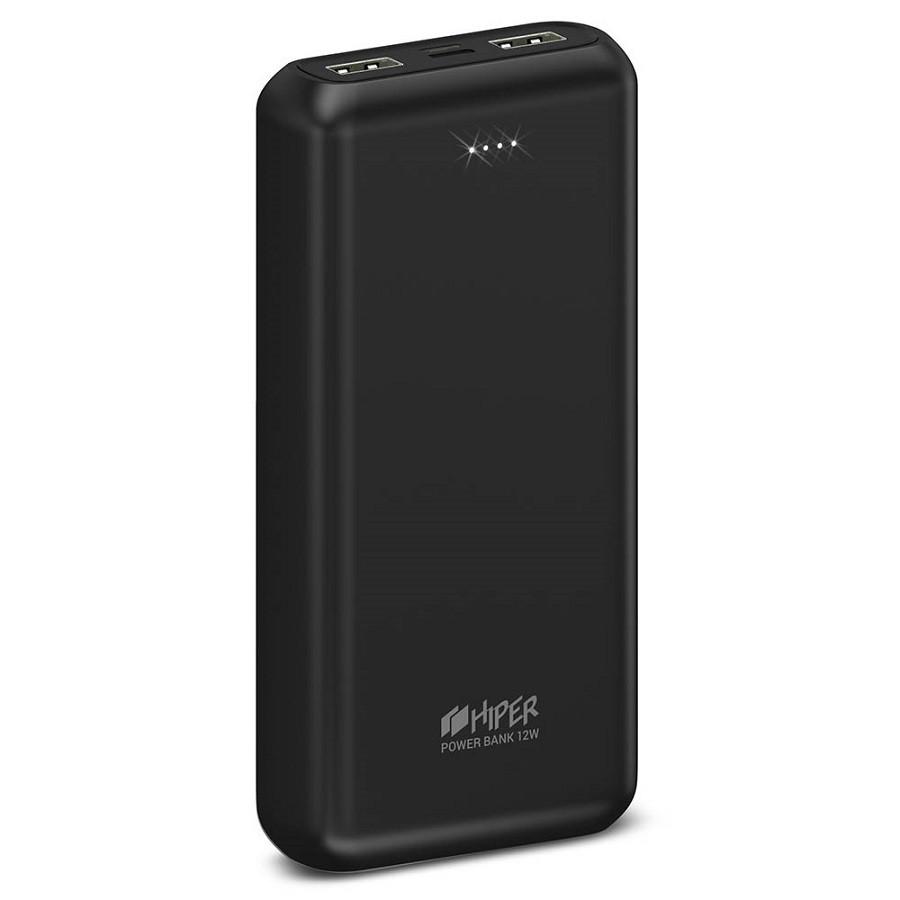 Универсальный аккумулятор PSL20000, емкость 20000 мАч, пластиковый корпус, цвет черный