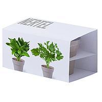 Набор NERTEL: два горшочка для выращивания петрушки и мяты, биоразлагаемый материал