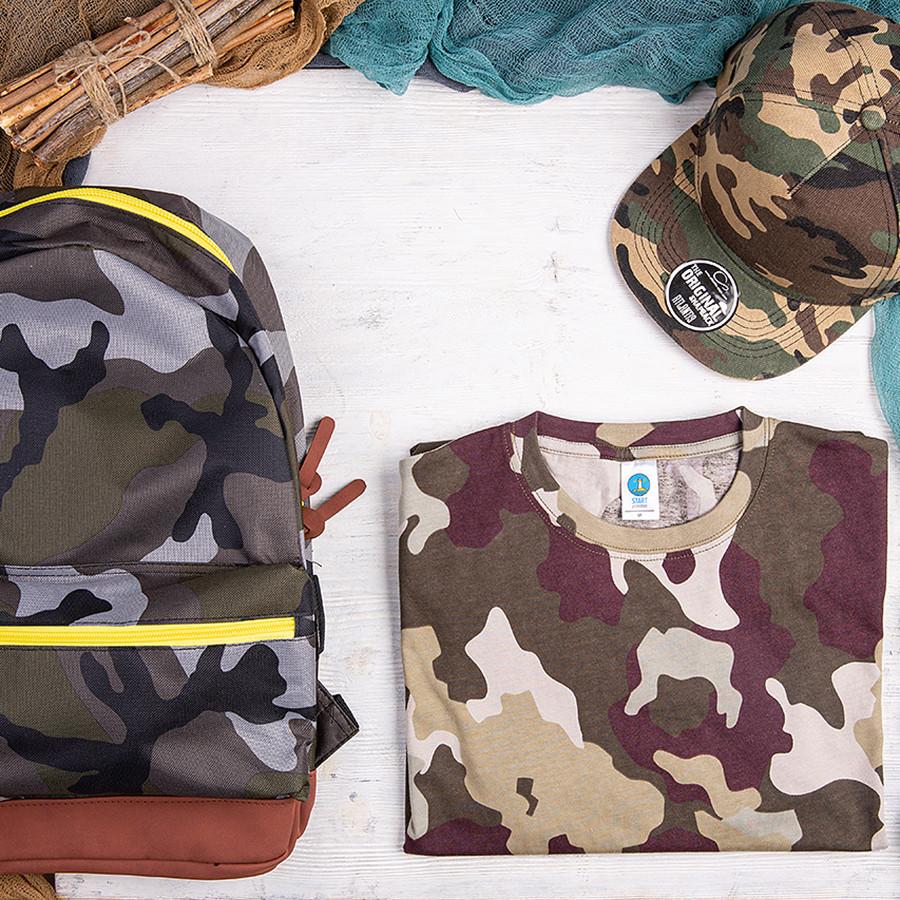 Набор подарочный STAYWILD: бейсболка, футболка, рюкзак, камуфляж