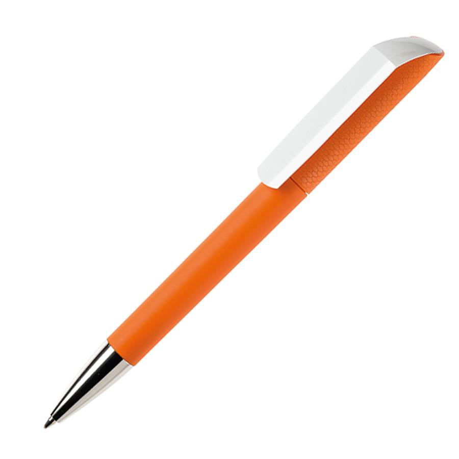 Ручка шариковая FLOW, покрытие soft touch, оранжевый, пластик