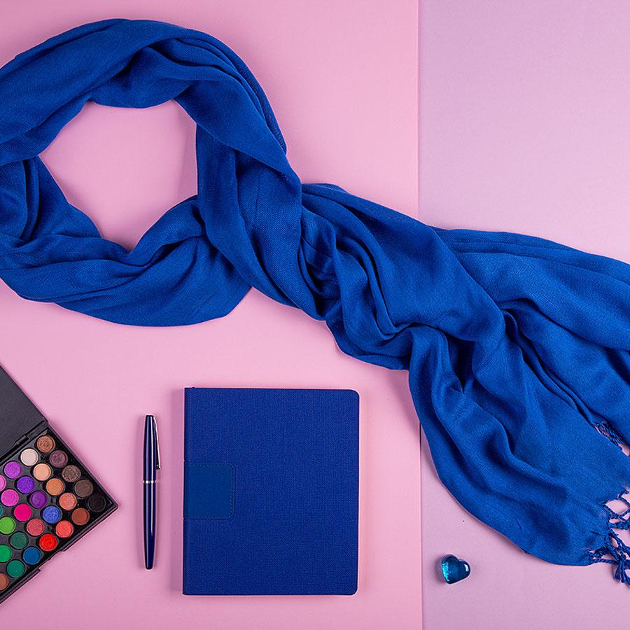 Набор подарочный VENUS BLUE: шарф, бизнес-блокнот, ручка, коробка, стружка, темно-синий