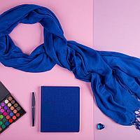 Набор подарочный VENUS BLUE: шарф, бизнес-блокнот, ручка, коробка, стружка, темно-синий, фото 1