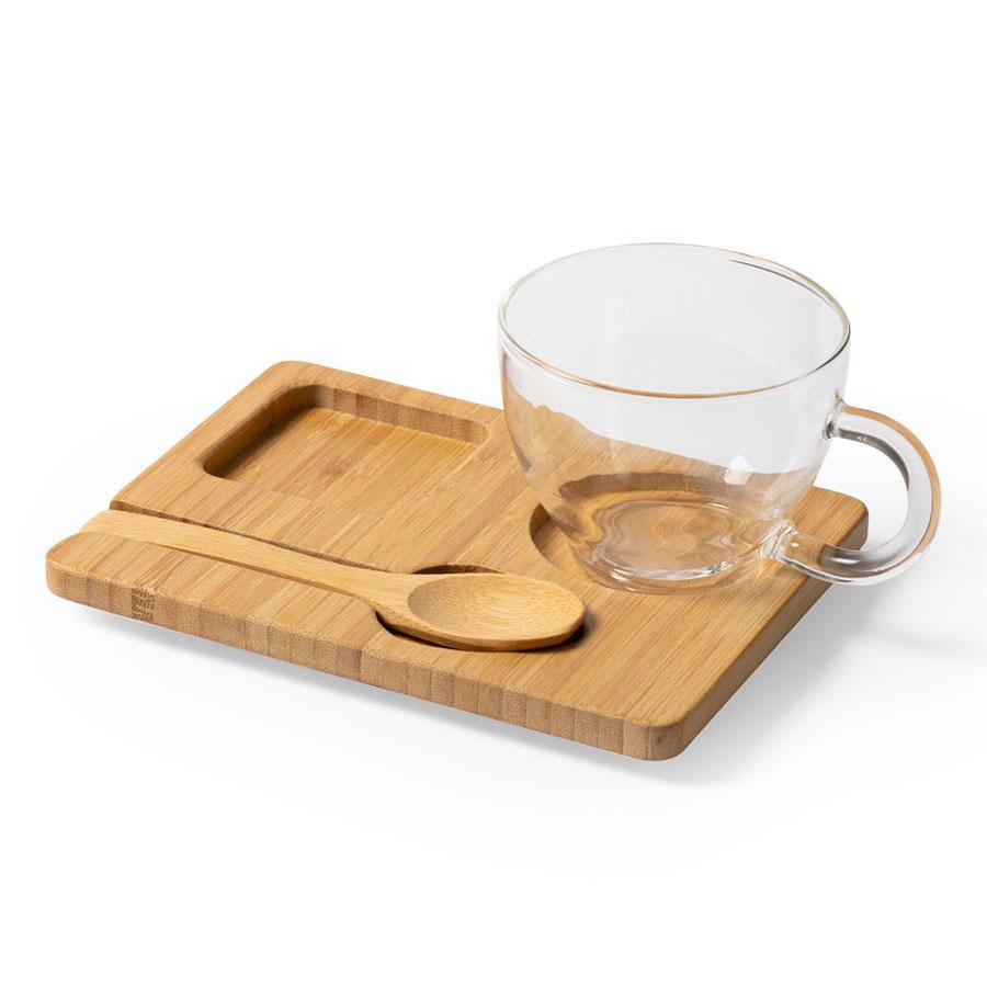Набор MORKEL:чашка, ложка, подставка, 180мл,16,4х8х12,3 см, боросиликатное стекло, бамбук
