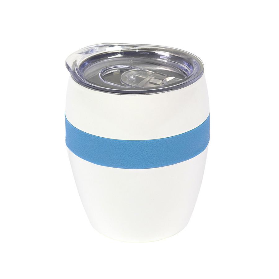 Термокружка LINE, белый/голубой, сталь, 300 мл