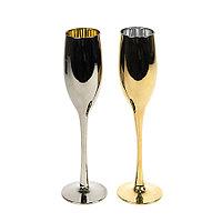 Набор бокалов для шампанского MOON&SUN (2шт), золотой и серебяный, 26,5х25,3х9,5см, стекло