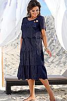 Женское летнее хлопковое синее нарядное большого размера платье Vittoria Queen 12713/1 50р.