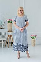 Женское летнее хлопковое голубое большого размера платье ASV 2412 54р.
