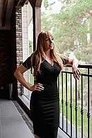Женское летнее трикотажное черное платье Avenue Fashion 109 черный 42р.