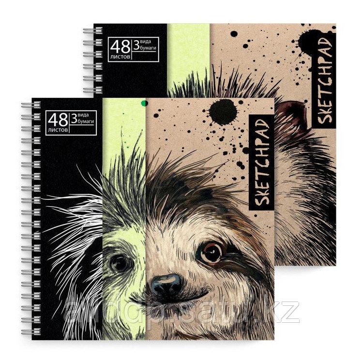 Скетчпад Животные черная, зеленая и крафт-бумага 51500