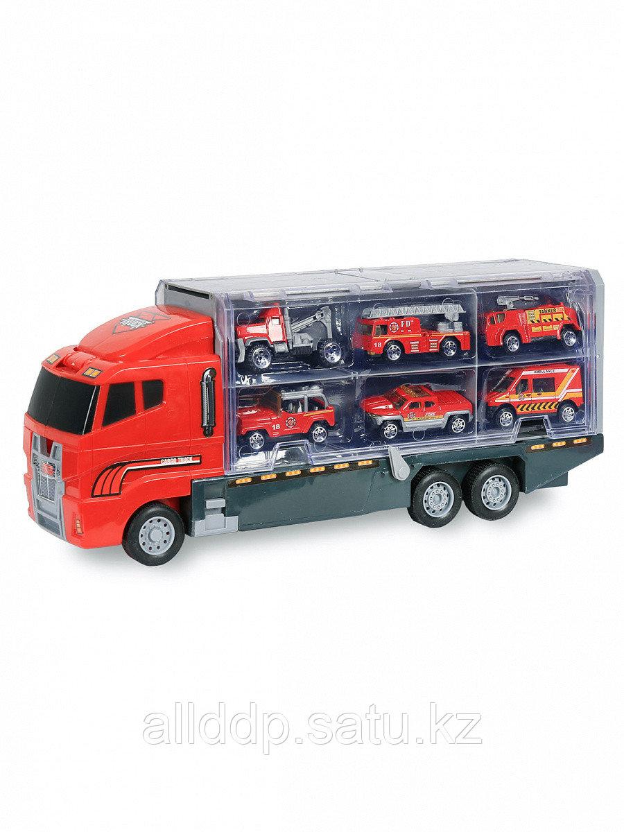 Игровой набор 2в1 Автовоз/трейлер-кейс (35см) с 6 металлическими машинками 1:64 TN-1086