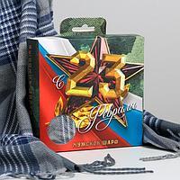 """Мужской шарф в подарочной коробке """"С 23 февраля!"""", 195х35 см"""