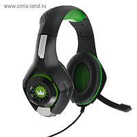 Наушники Crown CMGH-101T, игровые, полноразмерные, микрофон, 3.5 мм, 2.1 м, чёрно-зеленые