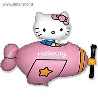 """Шар фольгированный 36"""" фигура """"Hello Kitty. Котенок в самолете"""" розовый, 1шт. в упак."""