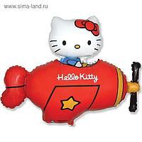 """Шар фольгированный 36"""" Hello Kitty """"Котёнок в самолёте"""", фигура, в упаковке, красный"""