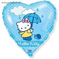 """Шар фольгированный 18"""" Hello Kitty """"Котёнок с зонтиком"""", сердце, 1 шт. в упакаковке, голубой"""