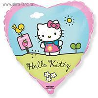 """Шар фольгированный 18"""" Hello Kitty """"Котёнок в саду"""", сердце, 1 шт. в упаковке, розовый"""
