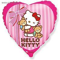 """Шар фольгированный 18"""" Hello Kitty """"Котёнок и любимые игрушки"""", сердце, 1 шт. в упаковке, розовый"""