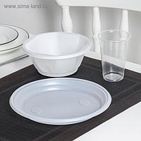 Набор одноразовой посуды, миска 600 мл, тарелка 20,5 см, стакан 200 мл, цвет прозрачный, белый