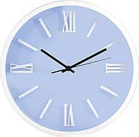 Часы d-31,0см, круглые, белые, голубой циферблат, белые цифры, без лого, пластиковые Tig