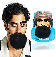 Набор накладных бровей и бороды маскарадных самоклеющихся из плотной ткани Пират Pirate