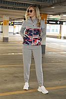 Женский летний трикотажный серый спортивный спортивный костюм Azzara 662/1 44р.