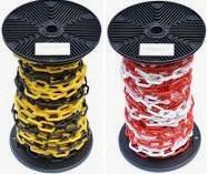 Цепь пластиковая 6мм*25м, черная/желтая, красная/белая