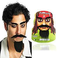 Набор накладных бровей, усов и бороды маскарадных самоклеющихся из плотной ткани Пират Джек Воробей
