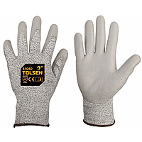 "Gloves, hppe fibre knited with pu coat,9"", cut level-5, 45040 / Перчатки рабочие из полиуретана"