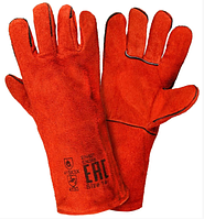 """Gloves, welding, split leather,16"""", Red / Рабочие перчатки красные, коровий спилок, полная подкладка"""