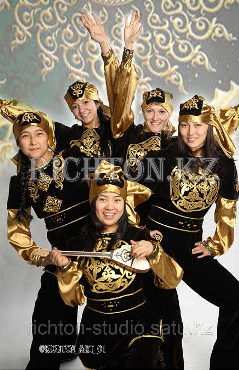 Казахский национальный мужской костюм Алматы. Белый сценический - фото 1