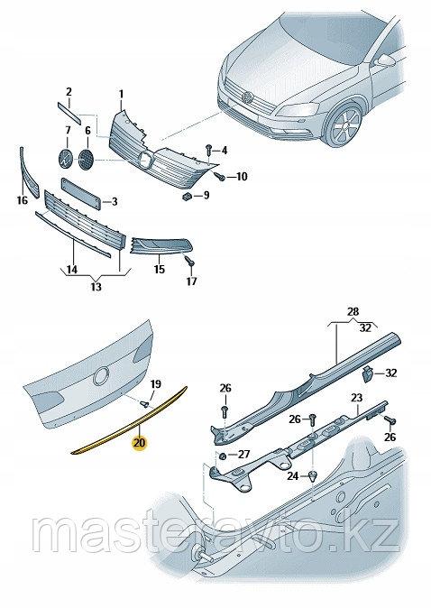 ХРОМ МОЛДИНГ НА КРЫШКУ БАГАЖНИКА VW PASSAT B7 10-