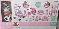Детская кукла-пупс AbbyEva с коляской, кроваткой и стульчиком для кормления