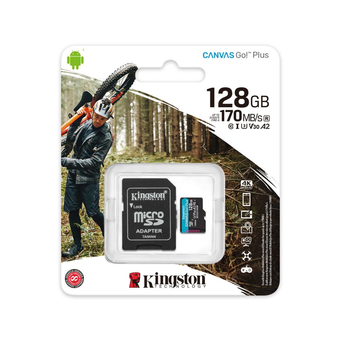 Карта памяти Kingston SDCG3/128GB A2 U3 V30 128GB + адаптер