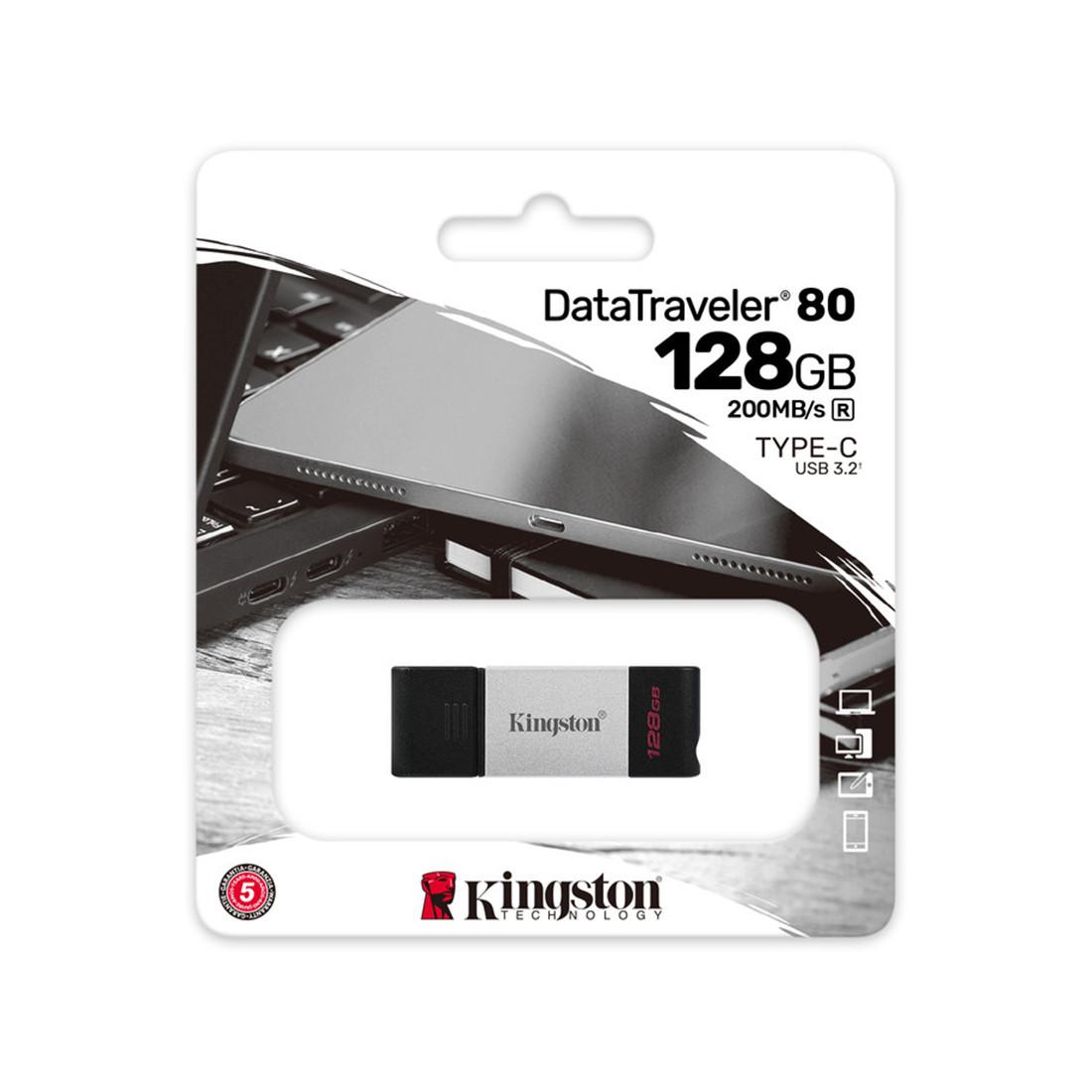 USB-накопитель Kingston DT80/128GB 128GB Серебристый
