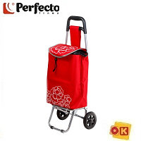 Сумка-тележка хозяйственная на 20 кг, красная, цветы, PERFECTO LINEA