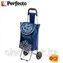 Сумка-тележка хозяйственная на 20 кг, синяя, цветы, PERFECTO LINEA