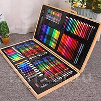 Набор для рисования и творчества 220 предметов в деревянном кейсе, фото 1